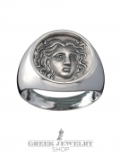 1121 Rhodes island- Helios ancient sun god silver signet coin ring (L)