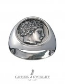 1122 Apollo god Ancient Greek coin ring L