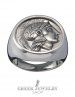 Goddess Athena Thourion - Large silver inspirational Greek coin ring (XL)