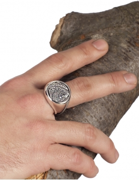 Large Phillip II Macedon Men's coin ring depicting Zeus from silver