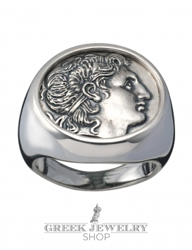 Large impressive Mens Alexander the Great chevalier coin ring. Greek Jewelry Shop