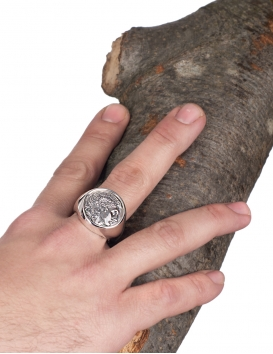 Large impressive Male Alexander the Great chevalier coin ring