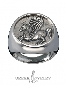 1137 Large Mens Pegasus coin ring. Coin jewellery from Greek mythology