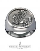 1137 Large Mens Pegasus coin ring XL