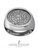1142 Extra Large silver Phaistos disc Chevalier Coin Ring (XL)