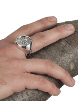 Silver Macedonia Star - Sun - Starburst Greek large Coin Ring