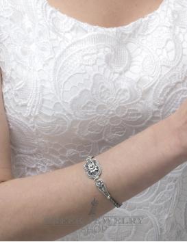 1263 Hercules-knot/Gordian knot hand-braided sterling silver Greek bracelet
