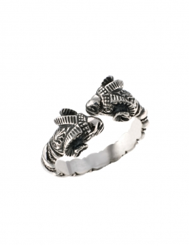 34/S Hand-coiled Double headed Sterling Silver Ancient ram torc ring