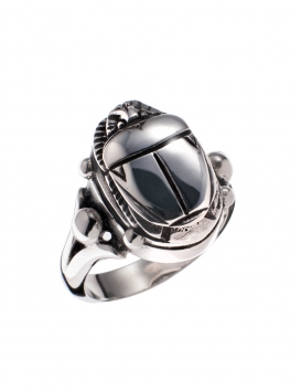679DA Scarab Sterling Silver Band Ring