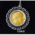 1208/E Large Goddess Athena Coin Pendant with Greek Key Pattern ( Gold Plated)