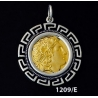 1209/E Large Alexander The Great (Lysimachos) Coin Pendant with Greek Key Pattern ( Gold Plated)