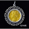 1214/E Large Syracuse Arethousa/Artemis/Persephone Coin Pendant with Greek Key Pattern ( Gold Plated)