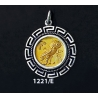 1221/E Medium Owl Of Wisdom Coin Pendant with Greek Key Pattern (Gold Plated)
