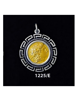 1225/E Medium Alexander The Great (Lysimachos) Coin Pendant with Greek Key Pattern ( Gold Plated)