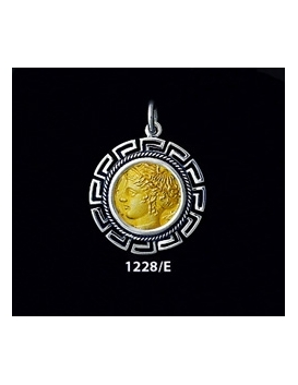 1228/E Medium Syracuse Arethousa/Artemis/Persephone Coin Pendant with Greek Key Pattern (Gold Plated