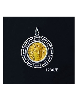 1230/E Medium Rhodes Island- Helios Ancient Sun God Coin Pendant with Greek Key Pattern (Gold Plated)