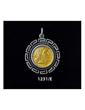 1231/E Medium Phillip II Macedon Depicting Zeus Coin Pendant with Greek Key Pattern (Gold Plated)