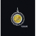 1232/E Smalll Owl Of Wisdom Coin Pendant with Greek Key Pattern (Gold Plated)
