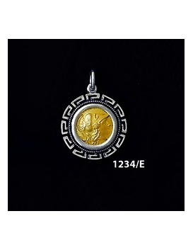 1234/E Small Helmetted Athena Coin Pendant with Greek Key Pattern (Gold Plated)