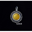 1235/E Small Alexander The Great (Hercules) Coin Pendant with Greek Key Pattern (Gold Plated)