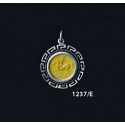 1237/E Small Pegasi/Pegasus Coin Pendant with Greek Key Pattern (Gold Plated)