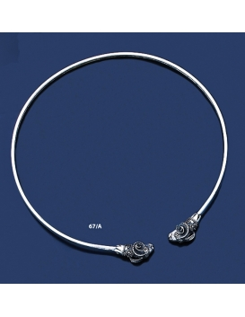 67/A Ram Solid Silver Torc Collar Necklace (S)