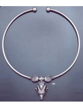 221 Ram's head animal torc necklace