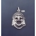 336 Ancient Greek Theater Silver Comedy Mask