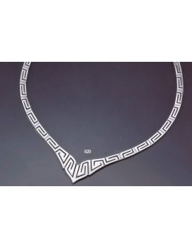 820 Greek Key/Meander Graduated Silver Necklace