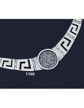 1160 Greek Key/Meander Necklace Phaistos Disc Coin (L)