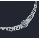 1175 Greek Key/Meander Necklace With Helmetted Goddess Athena Coin (M)