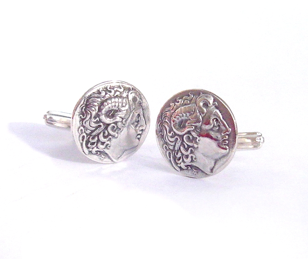 Alexander the Great Greek cufflinks Mens jewelry, sterling silver cuff links