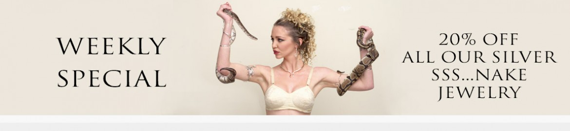 Weekly special discount on silver snake jewelry from greek jewelry shop