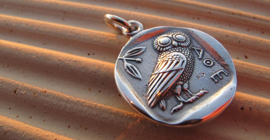 Silver historic coin pendants, precious silver coin pendants, The owl of Wisdom