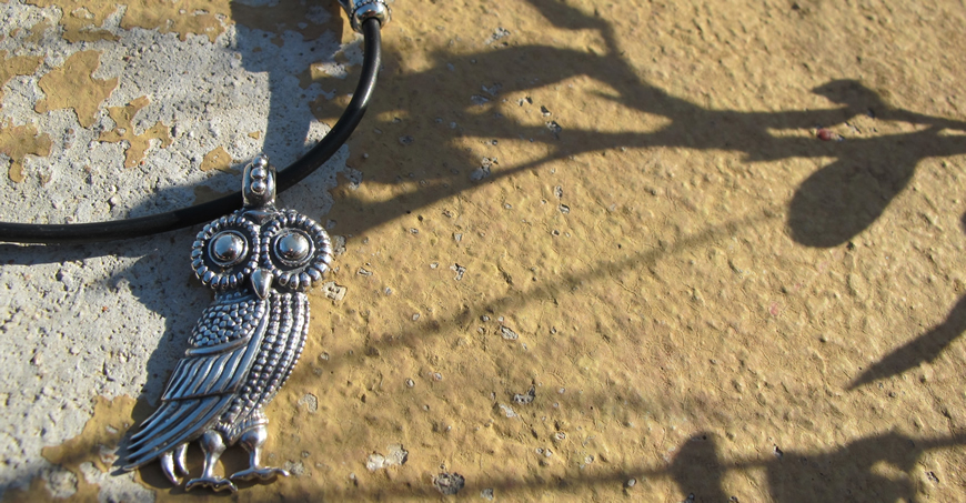Owl of wisdom ladies pendant silver Greek hand-made jewelry from the Vaphiadis traditional jewellery workshop