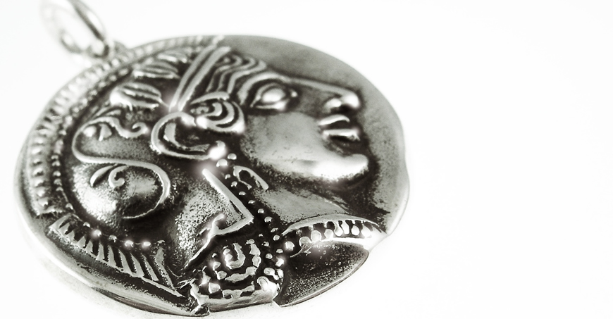 Athena Goddess silver medallion coin pendant (Greek Jewelry Shop)