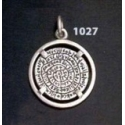 1027 Festos/Phaistos disc pendant on silver bezel (S)