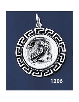 1206 Owl Of Wisdom Coin Pendant with Greek Key Pattern / Meander (L)