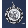 1207 Helmetted Athena Coin Pendant with Greek Key Pattern / Meander (L)
