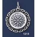 1213 Macedonia Star/Sun/Starburst Coin Pendant with Greek Key Pattern / Meander (L)