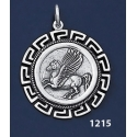 1215 Pegasi / Pegasus Coin Pendant with Greek Key Pattern / Meander (L)