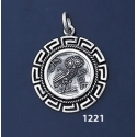 1221 Owl Of Wisdom Coin Pendant with Greek Key Pattern / Meander