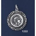 1222 Goddess Athena Coin Pendant with Greek Key Pattern / Meander (M)