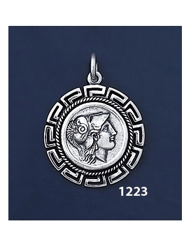 1223 Helmetted Athena Coin Pendant with Greek Key Pattern, Meander (M)