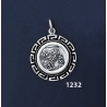 1232 Owl Of Wisdom Coin Pendant with Greek Key Pattern / Meander (S)