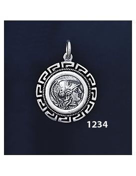 1234 Helmetted Athena Coin Pendant with Greek Key Pattern, Meander (S)
