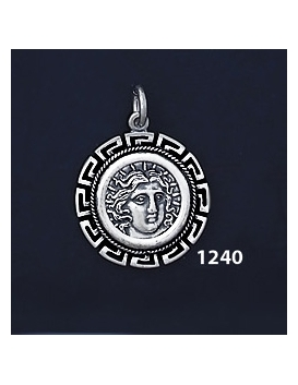 1240 Rhodes Island- Helios Ancient Sun God Coin Pendant with Greek Key Pattern / Meander (S)