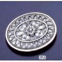 620 Byzantine Floral Oval Sterling Silver Brooch