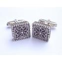 45 Square silver byzantine cufflinks