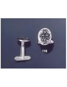 116 Solid Silver Cufflinks with Byzantine Monogram